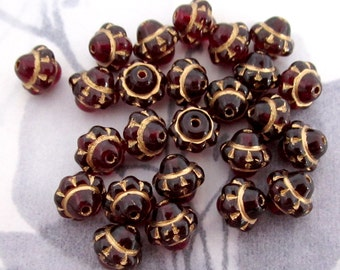 25 pcs. vintage glass dark ruby red gold intaglio beads 8x6mm - f2823