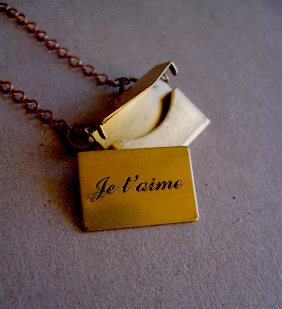 """French Love Note Envelope Letter Necklace - French Love Note Necklace - Je T'aime - Brass Envelope Necklace - 18"""" long"""