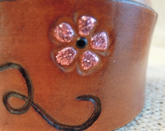 Wide Leather Dog Collar with Pink Glitter Flowers