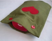 NEW Olive Green Flannel Hot Water Bottle Cover with Red Heart or Cream Heart Applique