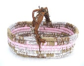 PUSSY WILLOW textile art BASKET tote with handle  Larger size