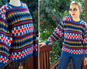 Harlequin 1980's 90's Vintage Blue Red Gold Diamond Geometric Sweater size Large