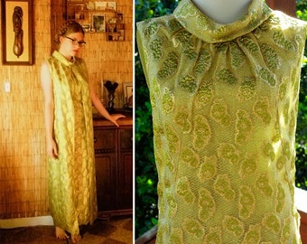 Metallic Gold LACE 1960's 70's Vintage Olive Green Sleeveless Maxi Dress with Cowl Collar size Small