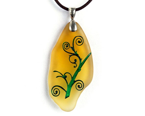 Swirly Vine - Etched Glass Pendant Necklace - Yellow Frosted Glass