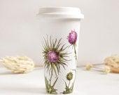 Ceramic Eco-Friendly Travel Mug - Thistles, Botanical Collection