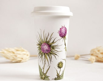 Ceramic Eco-Friendly Travel Mug - Thistles | Botanical Collection