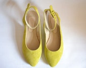 Bright yellow suede leather pointy slingback flats (ready to ship)