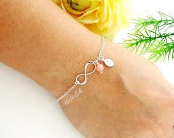 Infinity Monogram Bracelet, Personalized Initial Infinity Bracelet, Bridesmaids Gifts, Infinity Birthstone Bracelet, New Moms Bracelet