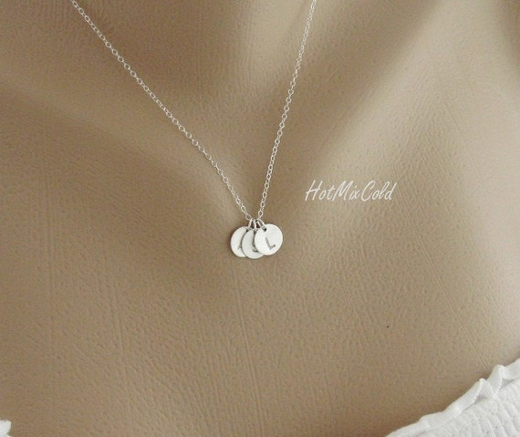 Custom THREE Initials Sterling Silver Necklace, Monogram Necklace, Simple Daily Jewelry, Family, Birthday, Best Friends, Mothers Necklace
