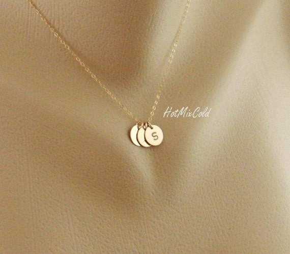 THREE Initials GOLD Fill Necklace, Customize Monogram Necklace, Simple Daily Jewelry, Family Jewelry, Sister Best Friends, Mothers Necklace