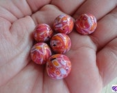 Pink Lavender and Orange Round BEADS Handmade by Barbara Poland-Waters