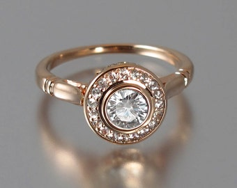 Moissanite THE SECRET DELIGHT 14k rose gold engagement ring
