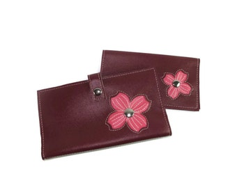 Large Wallet and Matching Checkbook Cover with Dogwood Flower *Choose Your Own Colors*