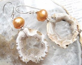 Orchard, Geode and Peach Pearl Earrings