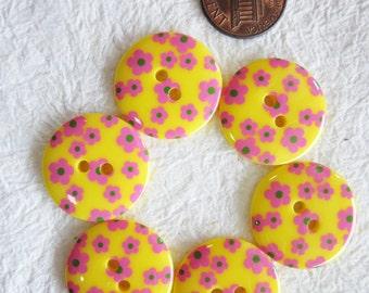 Flower yellow Buttons 23 mm. - 15 pcs