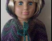 Instant Download PDF Crochet Pattern for Hooded Cape for American Girl Doll or any 18 inch doll