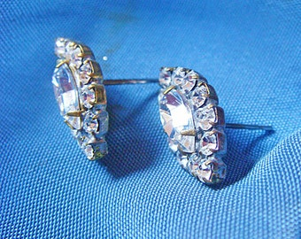 Rhinestone Earrings (One Pair) or Supply Components Medallions Vintage Pretty Vintage Crystal Marquise Shape jc rsb  MORE AVAILABLE