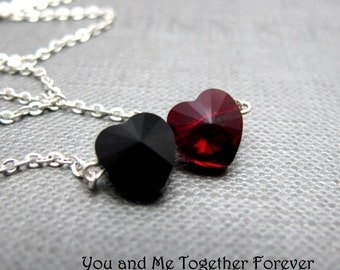 "You and Me Necklace // Black and Red Swarovski Crystal Hearts // 17"" Silver Chain // Valentine Gift under 25"
