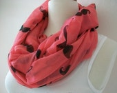 Hot Pink Mustache Scarf Infinity Circle Scarf with Black Mustaches  I Mustache You   Eternity Scarf  Circle Scarf -