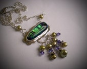 Green and Purple Dichroic Necklace