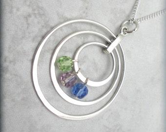 Mothers Necklace, Mothers Day Birthstone, Family Birthstone Jewelry, Sterling Silver, Grandmother, Mom, Mommy, Nana, Keepsake Jewelry SN728