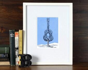 Winter Music - 6x9 Linoleum print