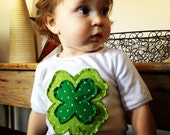 Custom Boutique Shabby Shamrock Appliqué Tee or Onsie