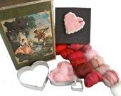 Deluxe Valentine Needle Felting Kit, DIY Gift, Felt your own Valentines, Love, Heart Cookie Cutters, Valentine craft kit, Wedding decor