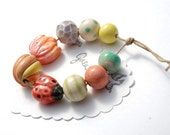 Ladybug Dream / Ladybug and Tulip Ceramic Bead Set