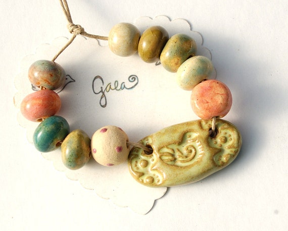 RESERVED for the awesome HippieChickDesign / Sweet Bird  / Ceramic Bird and Lace Pendant and Bead Set