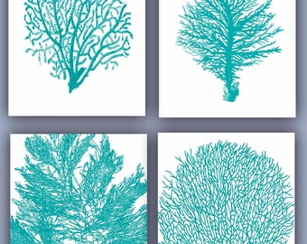 Sea fan Collection Prints, Set of 4, 11x14, seafan coral, home decor sea fan,  green turquoise fan sea, Nautical Art, beach cottage,