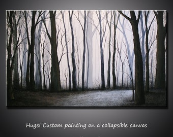"""Extra Large Wall Art Modern Landscape Painting Decor... 36"""" x 60"""" free US shipping, by Amy Giacomelli Black and White Forest Wall Decor"""