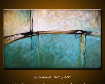 """Abstract Art Huge Painting Original Extra Large Living Room Contemporary ... 36"""" x 60"""" ... Burning River, Free US shipping"""
