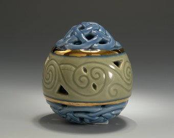 Blue and Green Celadon Celtic Knotwork and Spirals Easter Egg with Gold Luster