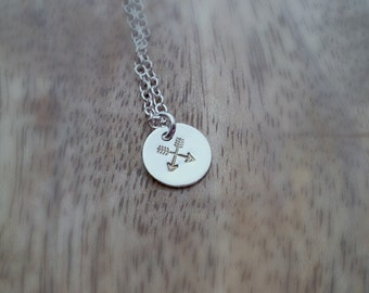 Sterling Crossed Arrows Friendship Necklace -- Hand stamped Gift