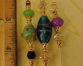3 Diff Hatpins Blue Lampwork Bead 6 inches long. .We sell hat stick  pin blanks,make your own,findings supplies...S10