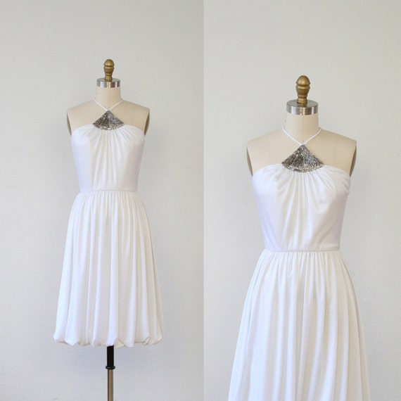 white twirly dancing dress with silver beading halter neckline