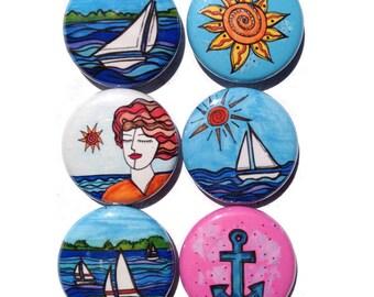 Nautical magnets - Sailing magnets, sailboat magnets, pinback buttons s, 1 inch, sailboat, sun, anchor magnet set, fridge magnet