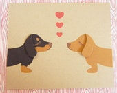 Teriyaki and BBQ the Dachshunds Valentine's Day Heart Print Note Card with Envelope