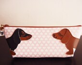 Teriyaki and BBQ the Dachshunds Pink Hearts Vintage Inspired Cotton Canvas Case with Vinyl Applique