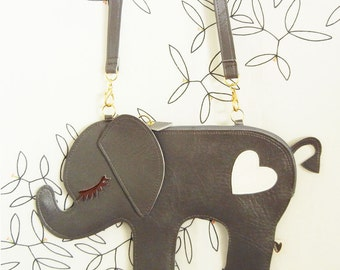 Large Peanut the Elephant Vintage Inspired Grey Vinyl Side Strap Clutch Purse Bag