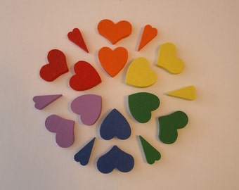 Rainbow wooden hearts, colour sorting and matching toy, wooden sorting hearts, wooden counting toy, rainbow counting toy, wooden sorting toy