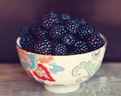 Fine Art Photograph, Blackberry Photo, Boho Bowl, Indigo, Still Life, Cafe Art, Fruit, Oversized Art, Kitchen Art, Food, Square 8x8 Print