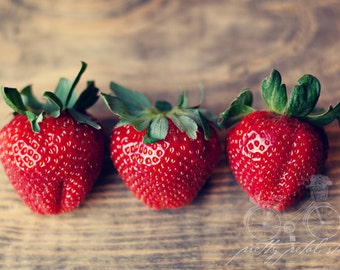Fine Art Photograph, Three, Red Strawberries, Kitchen Art, Macro, Food Print, Summer Fruit, Delicious, Foodie, Strawberry Photo, Small Art