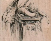 Angel Weeping Over Pillar rubber stamps   cling, unmounted or wood mounted  19154   cherub