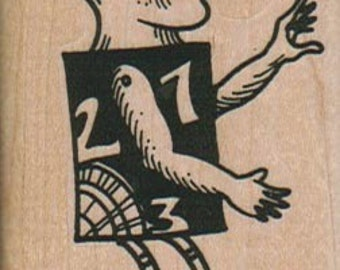 math man  rubber stamps place cards gifts  wood mounted  number 6455 fantasy