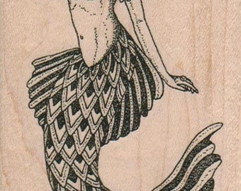 Mermaid     rubber stamps place cards gifts  wood mounted 12309 craft supplies scrapbooking