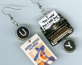 Book cover Earrings - Ulysses Typewriter James Joyce quote - book lover's day gift - literary jewelry