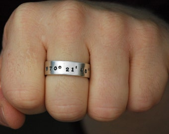 Latitude and Longitude Ring in Matte Sterling Silver for Men or Women - Medium Width - Free Shipping in the U.S.