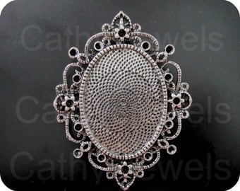 Antique Silver Filigree Cameo Setting 3 Pieces